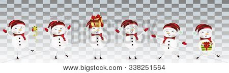 Collection Of Funny Cheerful Snowmans. Cute Christmas Snowmans Isolated On Transparent Background. S
