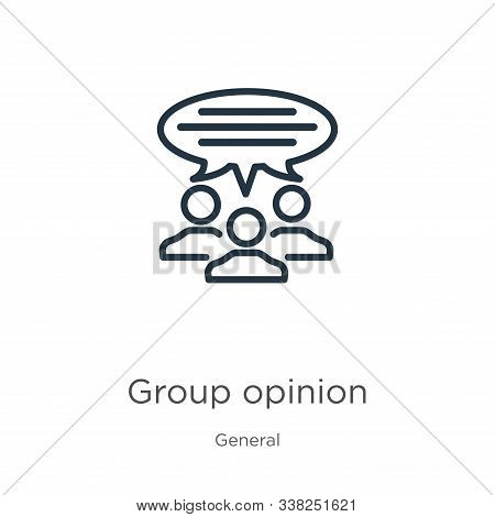 Group Opinion Icon. Thin Linear Group Opinion Outline Icon Isolated On White Background From General