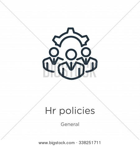 Hr Policies Icon. Thin Linear Hr Policies Outline Icon Isolated On White Background From General Col