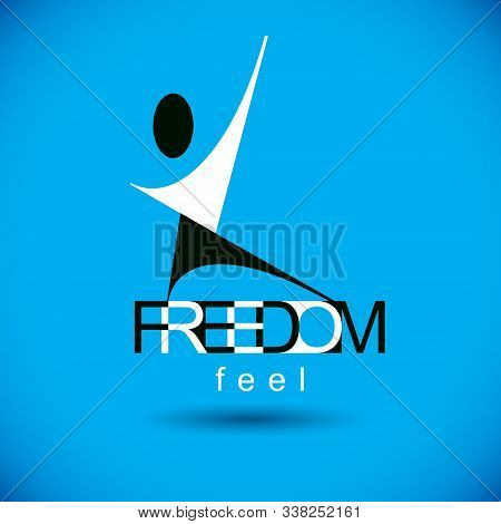 Vector Illustration Of Excited Abstract  Man With Raised Reaching Up. Successful Business Career Emb