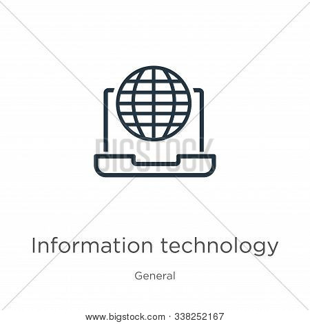 Information Technology Icon. Thin Linear Information Technology Outline Icon Isolated On White Backg