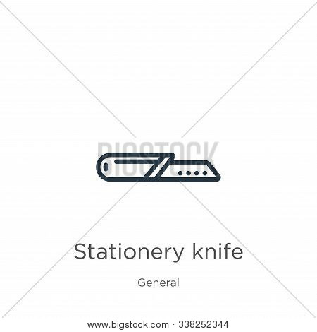 Stationery Knife Icon. Thin Linear Stationery Knife Outline Icon Isolated On White Background From G