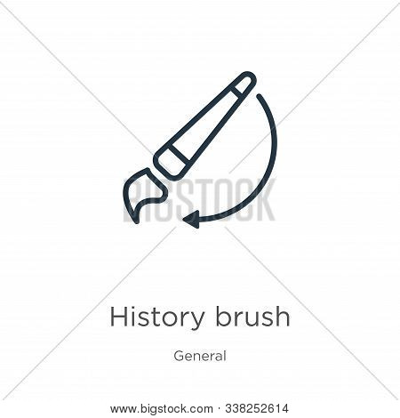 History Brush Icon. Thin Linear History Brush Outline Icon Isolated On White Background From General