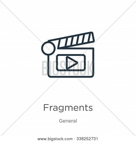 Fragments Icon. Thin Linear Fragments Outline Icon Isolated On White Background From General Collect
