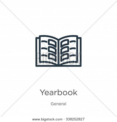 Yearbook Icon. Thin Linear Yearbook Outline Icon Isolated On White Background From General Collectio