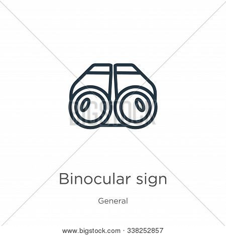 Binocular Sign Icon. Thin Linear Binocular Sign Outline Icon Isolated On White Background From Gener