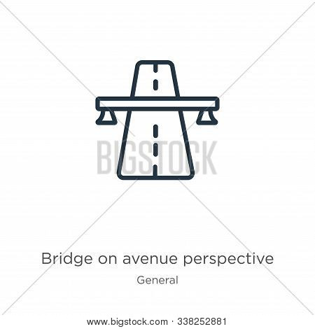 Bridge On Avenue Perspective Icon. Thin Linear Bridge On Avenue Perspective Outline Icon Isolated On