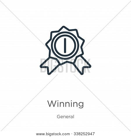 Winning Icon. Thin Linear Winning Outline Icon Isolated On White Background From General Collection.