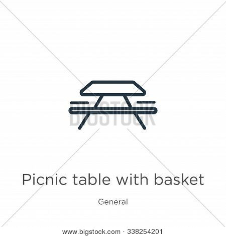 Picnic Table With Basket Icon. Thin Linear Picnic Table With Basket Outline Icon Isolated On White B