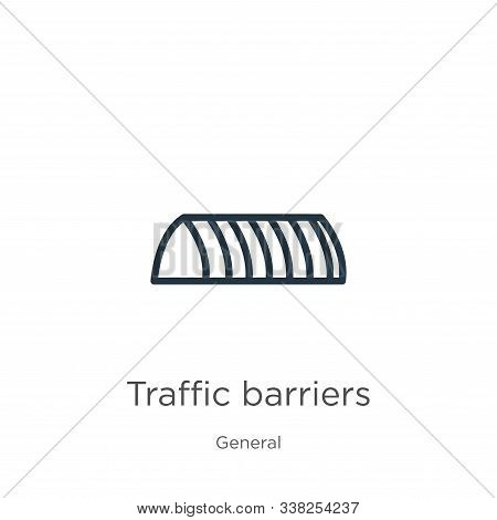 Traffic Barriers Icon. Thin Linear Traffic Barriers Outline Icon Isolated On White Background From G