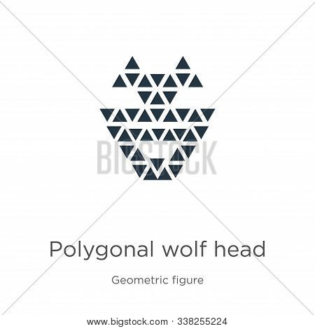 Polygonal Wolf Head Icon. Thin Linear Polygonal Wolf Head Outline Icon Isolated On White Background