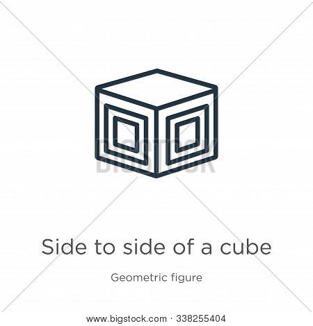 Side To Side Of A Cube Icon. Thin Linear Side To Side Of A Cube Outline Icon Isolated On White Backg