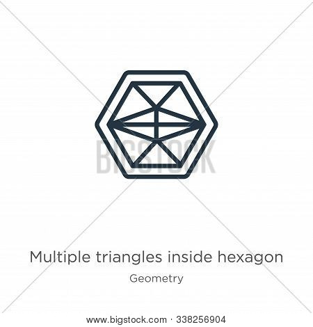 Multiple Triangles Inside Hexagon Icon. Thin Linear Multiple Triangles Inside Hexagon Outline Icon I
