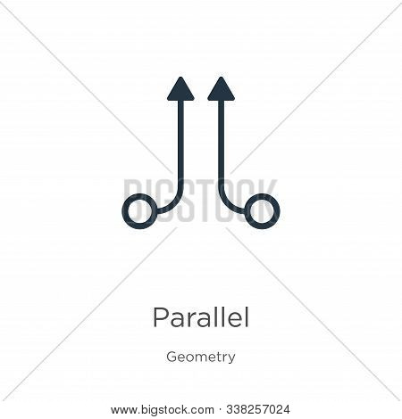 Parallel Icon. Thin Linear Parallel Outline Icon Isolated On White Background From Geometry Collecti