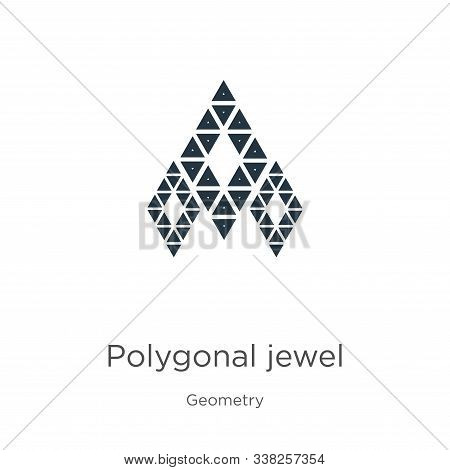 Polygonal Jewel Icon. Thin Linear Polygonal Jewel Outline Icon Isolated On White Background From Geo