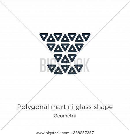 Polygonal Martini Glass Shape Icon. Thin Linear Polygonal Martini Glass Shape Outline Icon Isolated