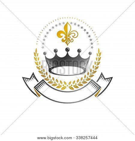 Royal Crown Emblem. Heraldic Coat Of Arms Decorative Logo Isolated Vector Illustration. Ancient Logo