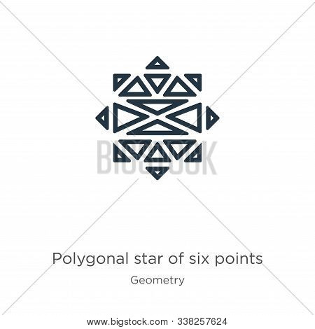 Polygonal Star Of Six Points Icon. Thin Linear Polygonal Star Of Six Points Outline Icon Isolated On