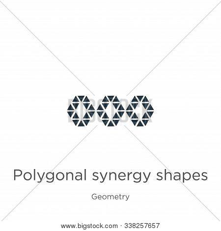 Polygonal Synergy Shapes Icon. Thin Linear Polygonal Synergy Shapes Outline Icon Isolated On White B