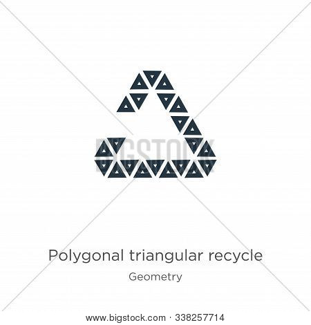 Polygonal Triangular Recycle Symbol Icon. Thin Linear Polygonal Triangular Recycle Symbol Outline Ic