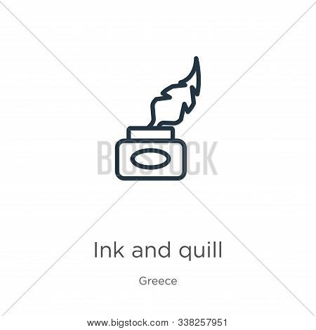Ink And Quill Icon. Thin Linear Ink And Quill Outline Icon Isolated On White Background From Greece