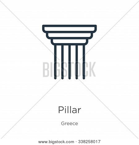 Pillar Icon. Thin Linear Pillar Outline Icon Isolated On White Background From Greece Collection. Li