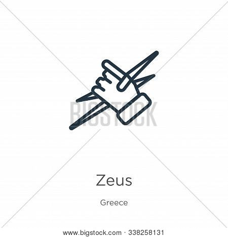 Zeus Icon. Thin Linear Zeus Outline Icon Isolated On White Background From Greece Collection. Line V