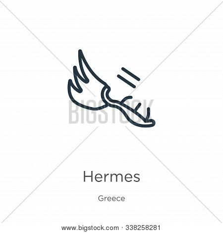 Hermes Icon. Thin Linear Hermes Outline Icon Isolated On White Background From Greece Collection. Li
