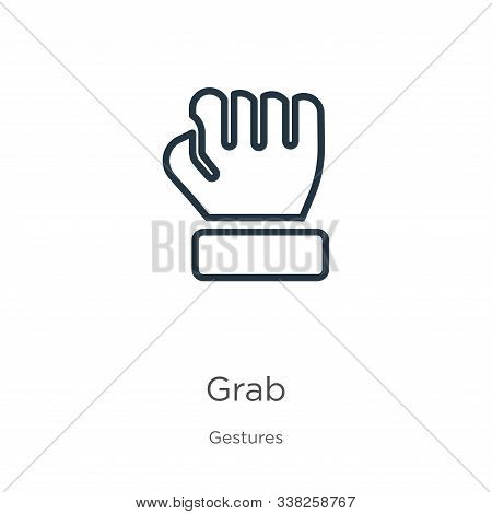 Grab Icon. Thin Linear Grab Outline Icon Isolated On White Background From Gestures Collection. Line