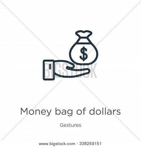 Money Bag Of Dollars Icon. Thin Linear Money Bag Of Dollars Outline Icon Isolated On White Backgroun