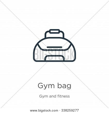 Gym Bag Icon. Thin Linear Gym Bag Outline Icon Isolated On White Background From Gym And Fitness Col