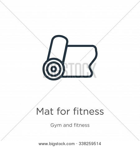 Mat For Fitness Icon. Thin Linear Mat For Fitness Outline Icon Isolated On White Background From Gym