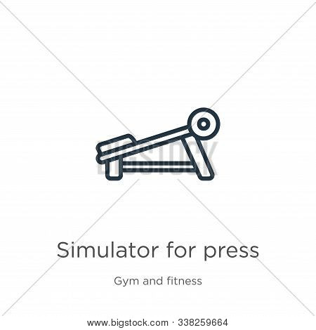 Simulator For Press Icon. Thin Linear Simulator For Press Outline Icon Isolated On White Background