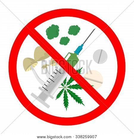 Collection Of Narcotic In The Red Sign Vector Isolated. Drug