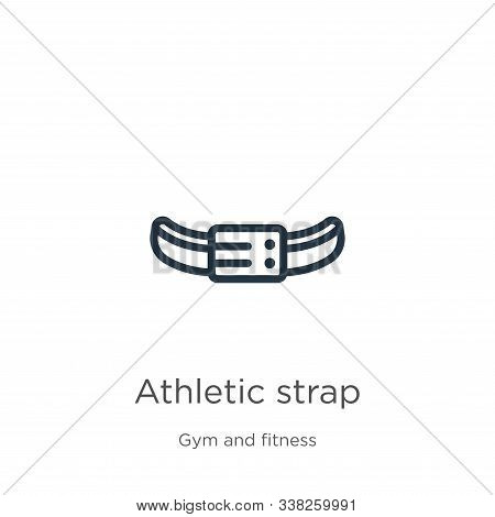 Athletic Strap Icon. Thin Linear Athletic Strap Outline Icon Isolated On White Background From Gym A