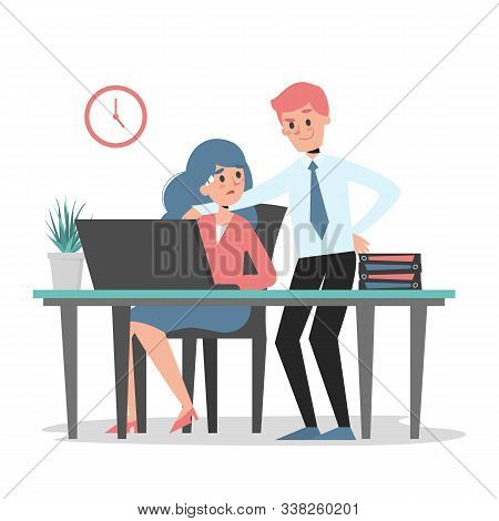 Sexual Harassment At Work Vector Isolated. Man Touch Woman Employee At The Workplace. Inappropriate