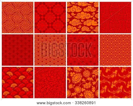 Set Of Oriental Chinese Or Japanese Seamless Patterns. Traditional Asian Ornaments Floral, Geometric