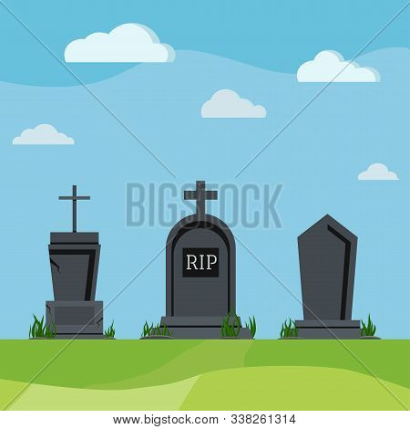 Grey Rip Grave Tombstones On Summer Nature Scenic Background. Different Old Tomb Gravestone With Cra