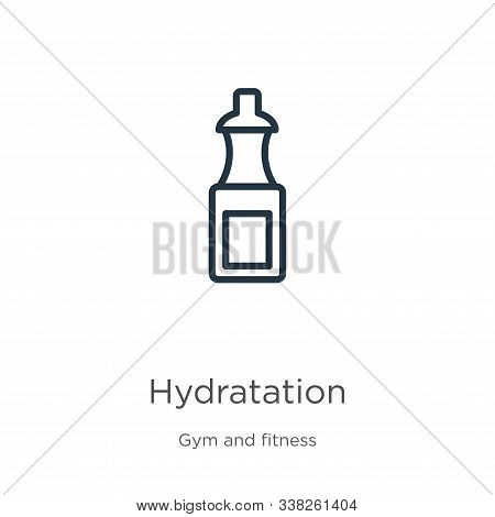 Hydratation Icon. Thin Linear Hydratation Outline Icon Isolated On White Background From Gym And Fit