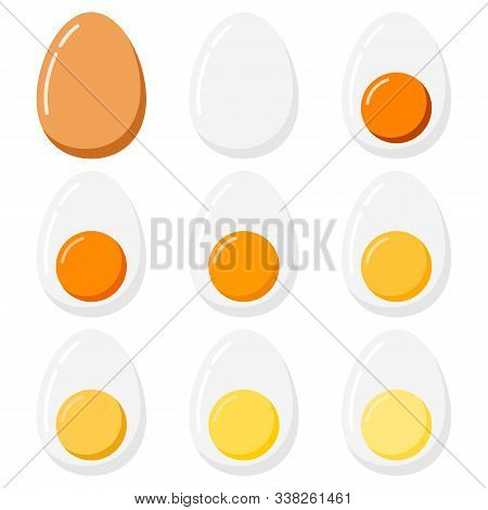 Boiled Eggs Set Isolated On White Background. Set Of Varying Degrees Of Cooking Birds Eggs - From So