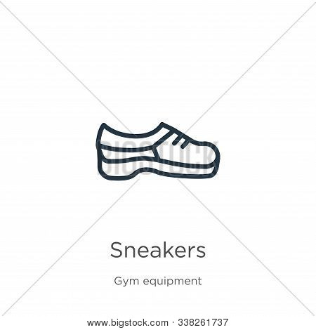 Sneakers Icon. Thin Linear Sneakers Outline Icon Isolated On White Background From Gym Equipment Col