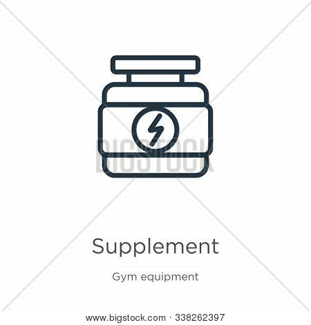 Supplement Icon. Thin Linear Supplement Outline Icon Isolated On White Background From Gym And Fitne