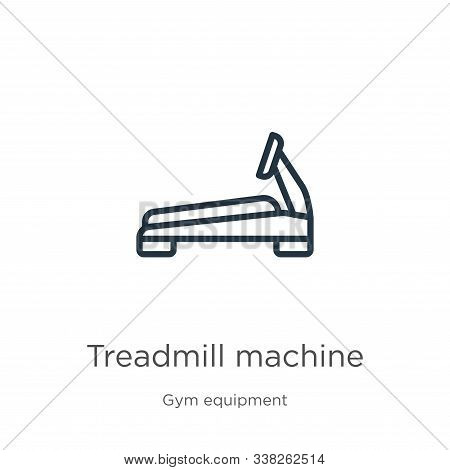 Treadmill Machine Icon. Thin Linear Treadmill Machine Outline Icon Isolated On White Background From