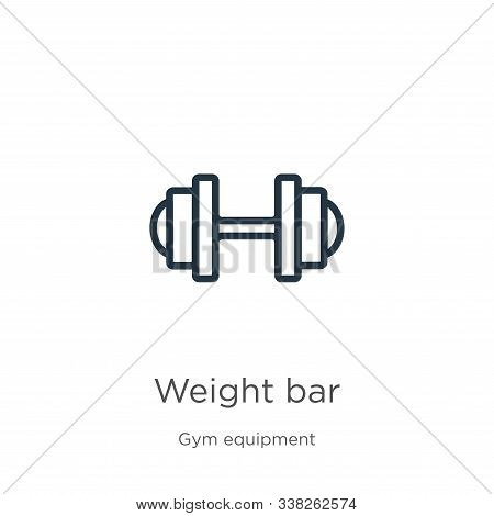 Weight Bar Icon. Thin Linear Weight Bar Outline Icon Isolated On White Background From Gym And Fitne