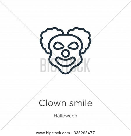 Clown Smile Icon. Thin Linear Clown Smile Outline Icon Isolated On White Background From Halloween C