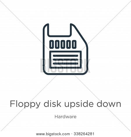 Floppy Disk Upside Down Icon. Thin Linear Floppy Disk Upside Down Outline Icon Isolated On White Bac