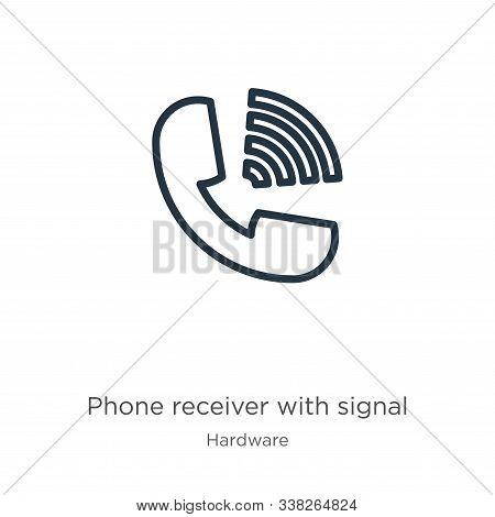 Phone Receiver With Signal Icon. Thin Linear Phone Receiver With Signal Outline Icon Isolated On Whi