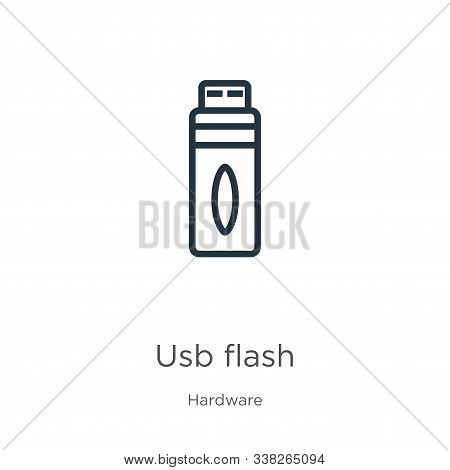 Usb Flash Icon. Thin Linear Usb Flash Outline Icon Isolated On White Background From Hardware Collec