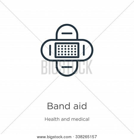 Band Aid Icon. Thin Linear Band Aid Outline Icon Isolated On White Background From Health And Medica