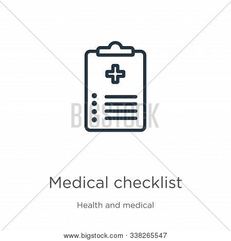 Medical Checklist Icon. Thin Linear Medical Checklist Outline Icon Isolated On White Background From